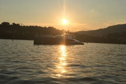 Sunsets cruise on a solar boat