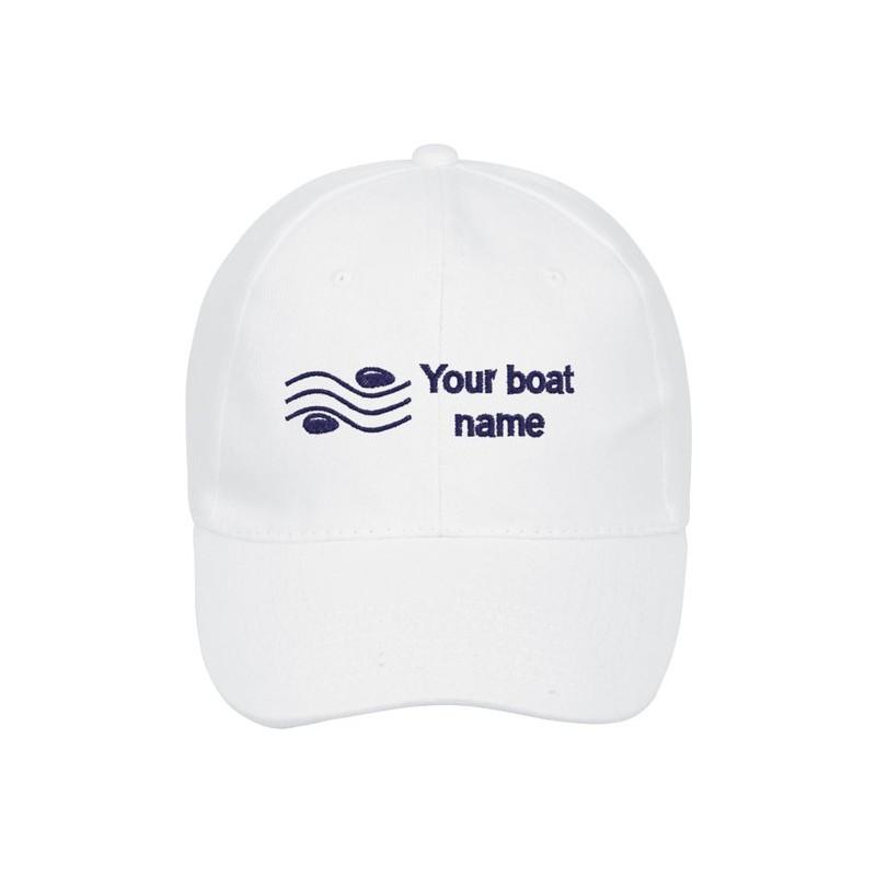 """Casquette personnalisée au nom de votre bateau avec symbole """"sea zen"""""""