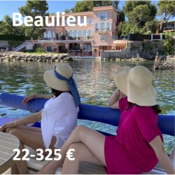 Private tour on a solar powered boat in front of the Villa Kerylos