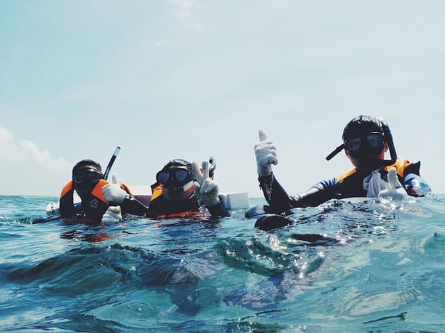 Divers at sea dressed in diving suits, with masks and snorkels, making a sign that everything is fine.