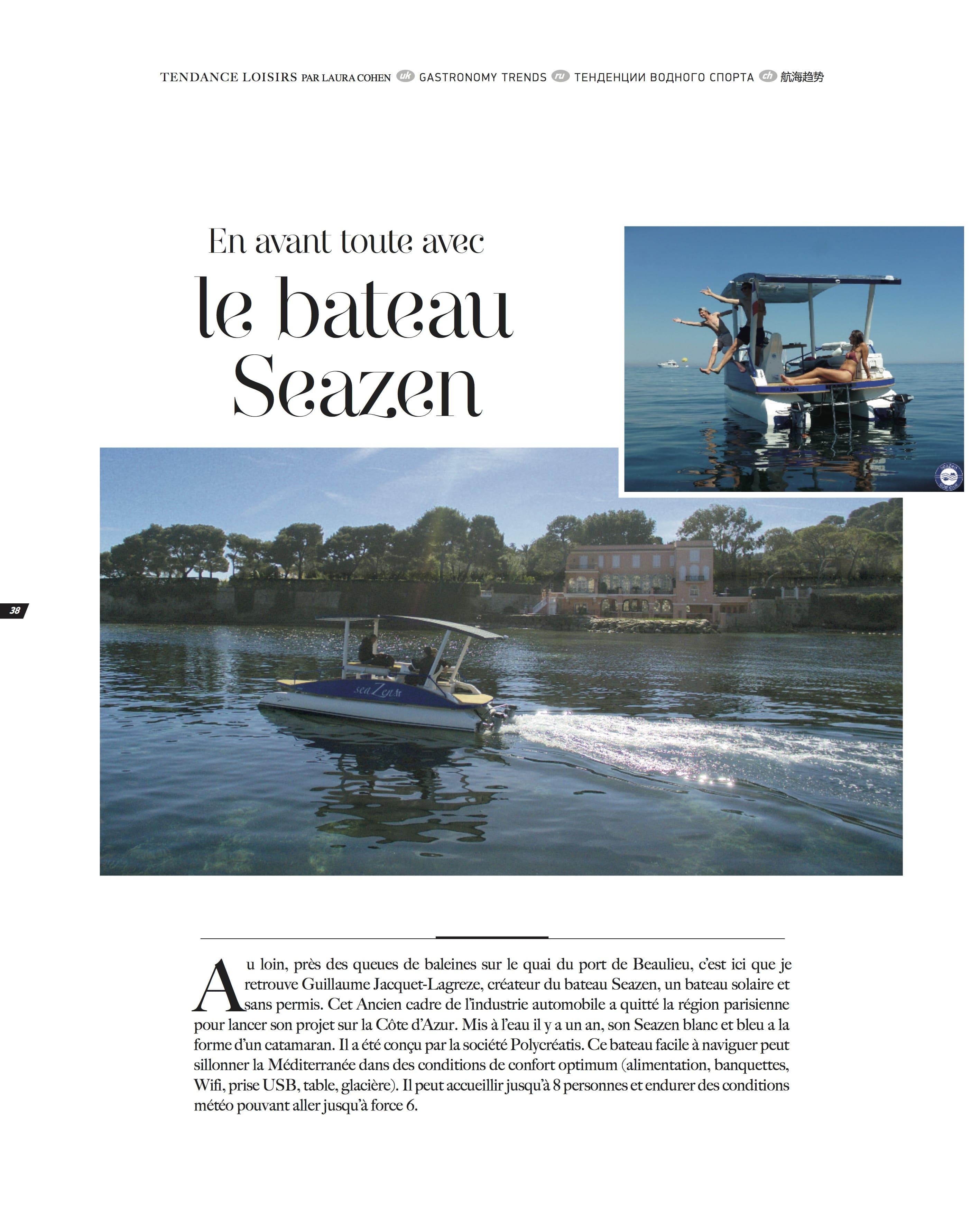 Article de presse sur la location du bateau solaire seaZen.